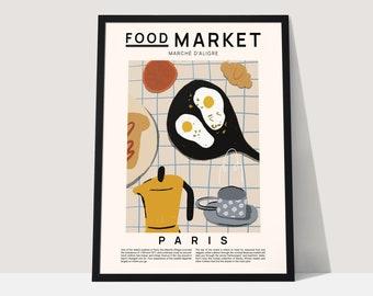 Food market Paris print, Food poster, modern wall art, food art, food illustration, kitchen print, kitchen wall art, kitchen poster,  A4, A3