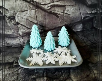 Fir Trees, Snowflakes, Fondant Tortendeko for Christmas, Christmas Decoration, Cake Decor, CakeTopper, Cake Topper Christmas, Cake Decor
