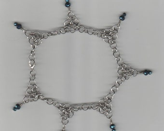 "Simple Japanese Weave Anklet with Glass Beads - 10"" Length"