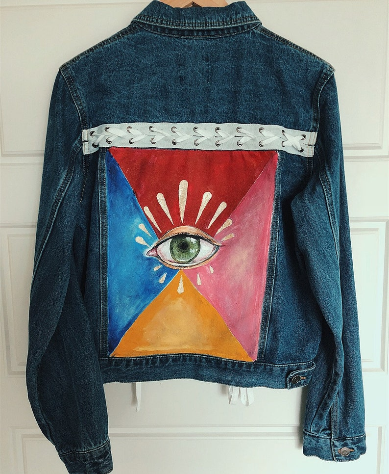 All Seeing Eye Denim Jacket Handpainted Jacket Custom Denim Personalized Jean Jacket One Of A Kind Denim Custom Made Handpainted