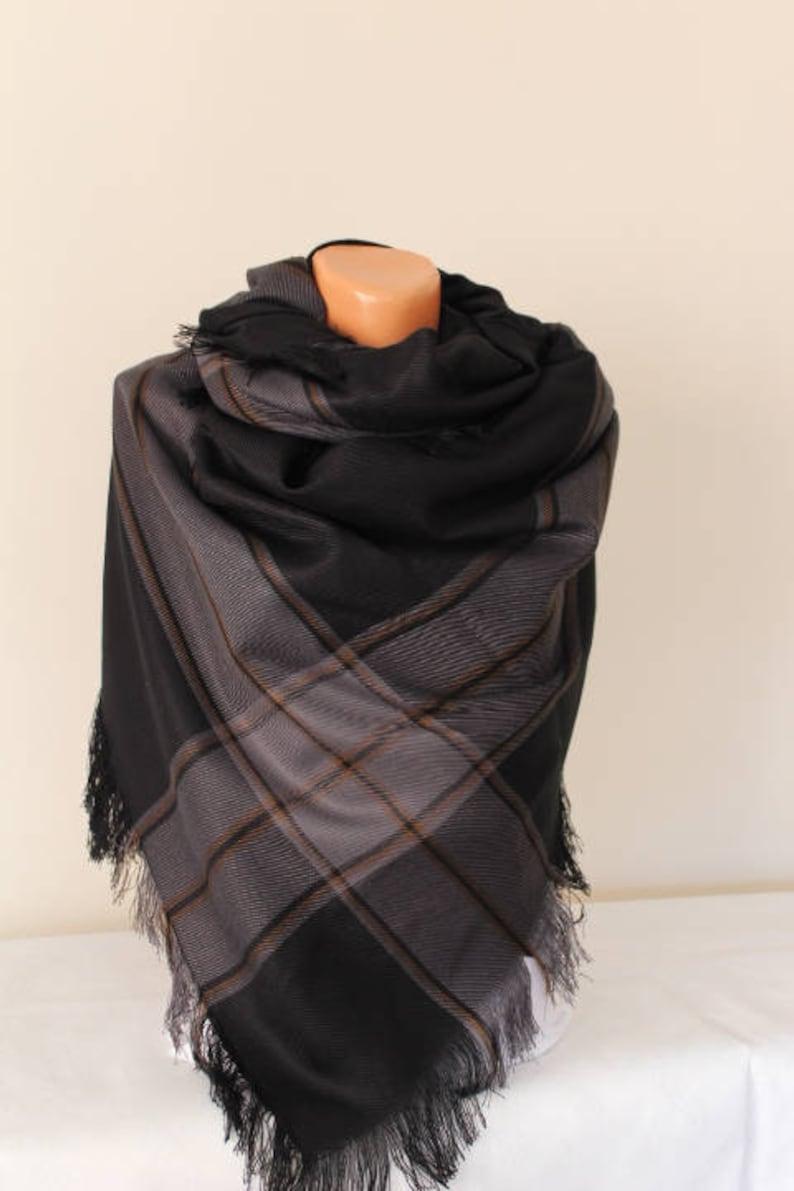 a3c38bdf1 Black Oversized Scarf-Black Plaid Scarf-Black Blanket   Etsy