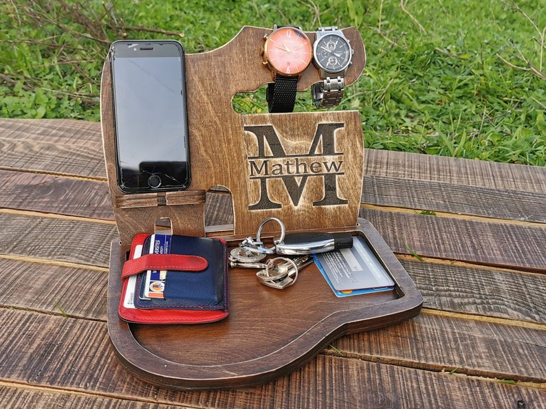 Charging Station Wooden Phone Stand Gifts for Husband Personalized Fathers Day Gift from Daughter Dads Birthday Gift Mens Birthday Gift