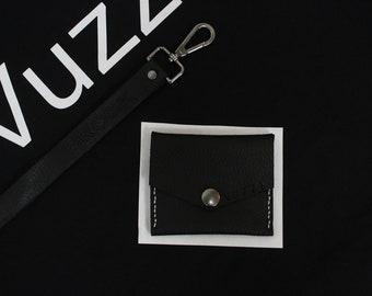 Black Leather Card Holder White thread Vuzzi