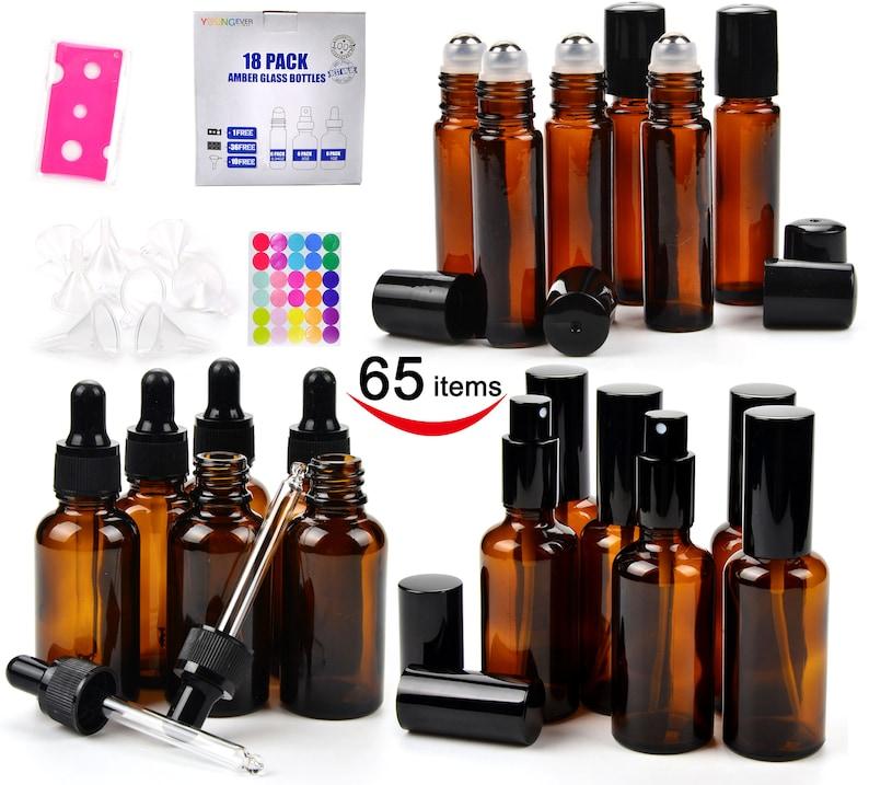 c6fda43f9439 18 Amber Glass Bottles Pack- 6 Eye Dropper Bottle (1 Ounce) - 6 Sprayer  Bottles (2 Ounce) - 6 Stainless Roller Balls Bottles (0.34 Ounce)