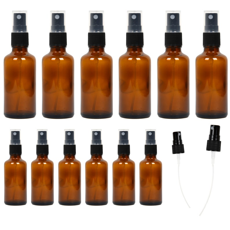 59190c2269e6 12 Pack Empty Amber Glass Spray Bottles 6 Pack 4oz, 6 Pack 2oz Refillable  Containers for Essential Oils Cleaning Products Aromatherapy