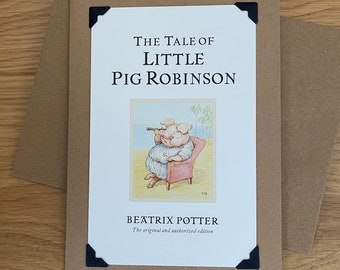 Tale of Little Pig Robinson Vintage original colour page from Beatrix Potter 7x5 mounted picture