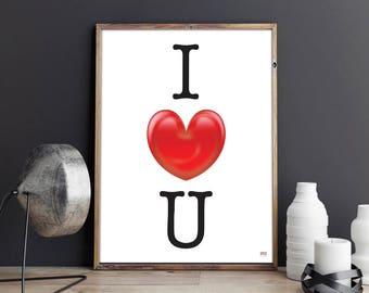 Love Poster, I Heart You Poster, Digital Print, Wall Art