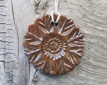 Handmade Large Ceramic Sunflower and Cherry Blossom Essential Oil Diffuser, Handmade Ceramic Ornament, Flower