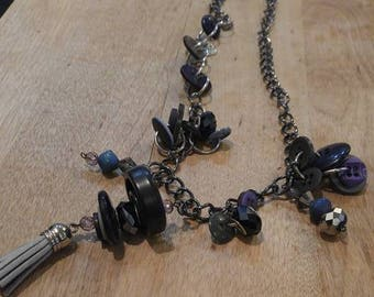Thunderstorm Button Necklace