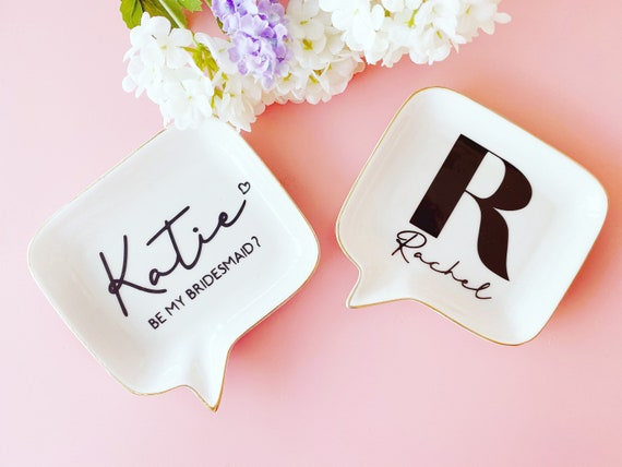 Personalised Ceramic Speech Bubble Shaped Ring Trinket Dish with Gold Rim Jewellery Dish Bridesmaids Gifts Gifts for Her Gifts for Moms