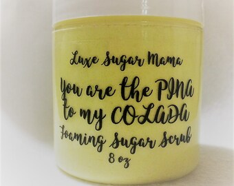 Pina Colada foaming sugar scrub / sugar scrub / handmade / indie / beauty / sensitive skin / paraben free / luxury / bath / gift
