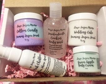 Summer beauty box / gift box / foaming sugar scrub / body cream / wedding / skincare / cotton candy