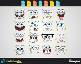 16x Spongebob Faces SVG | Png | Eps Cricut cutting file | vector file | printable | silhouette | digital download