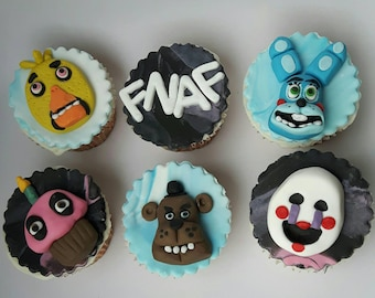 Five Nights at Freddy's inspired Cupcake toppers. Unofficial. My interpretation only