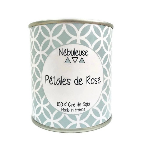 Candle - scented and natural Rose petals, plant 100% soy wax - 200gr