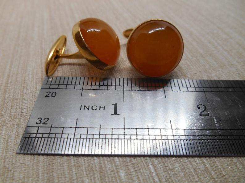 Made in USSR Soviet Vintage Baltic amber Cufflinks  in gilding