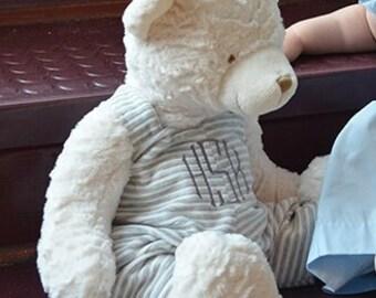 "18"" Monogrammed Teddy Bear Gray Overalls - Monogrammed Bear - Teddy Bear"