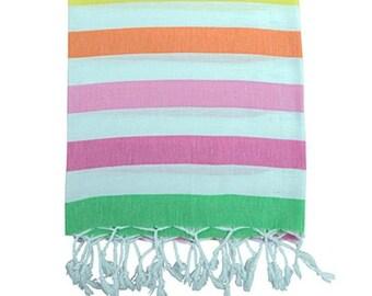 Rainbow Monogrammed Beach Towel - Rainbow Turkish Towel