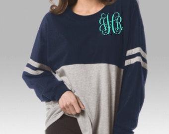Monogrammed Striped Jersey T-shirt - Pom Pom Stripes Jersey - Long Sleeve