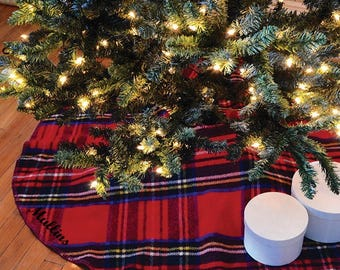 monogrammed tweedmill tree skirt traditional tartan tree skirt wool tree skirt plaid tree skirt - Christmas Tree Skirts Etsy