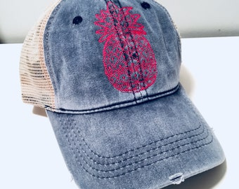 2144c48e509 Pineapple Distressed Top Knot Hat - Pony Tail Hat - Messy Bun Hat