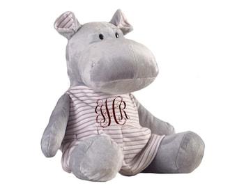 "18"" Pink Monogrammed Hippo - Monogrammed Hippo - Hippopotamus"
