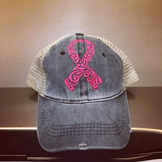 94652c54c06 Breast Cancer Awareness Distressed Top Knot Hat Pony Tail