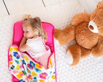 Pink Leopard Preschool Nap Mat - Monogrammed Preschool Nap Sack - Back to School