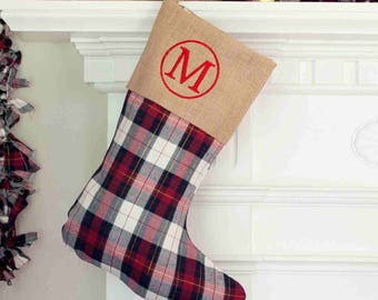 Personalized  Plaid and Burlap Stocking - Burlap Stocking - Plaid Stocking
