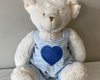 "18"" Heart Teddy Bear- Memory Bear - Pink, Blue, Red, Gray Overalls"