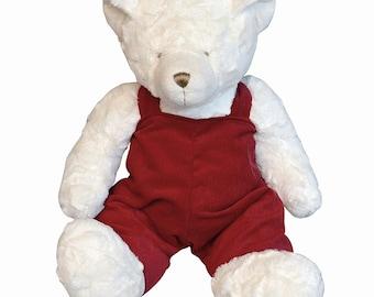 "18"" Monogrammed Teddy Bear Red Overalls- Monogrammed Bear - Teddy Bear"