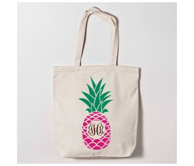 Monogram Me Tote Canvas Monogrammed Tote Monogrammed Pineapple Tote Bag