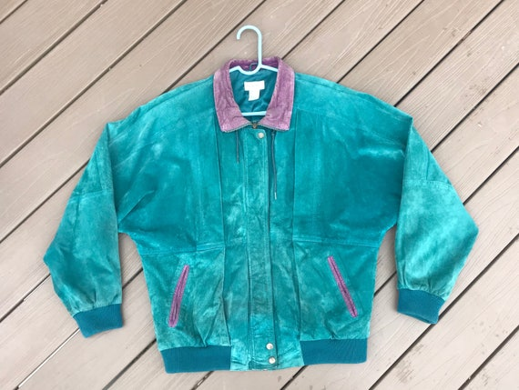 90s Teal Suede Moto Jacket // Vintage 1990 Suede C