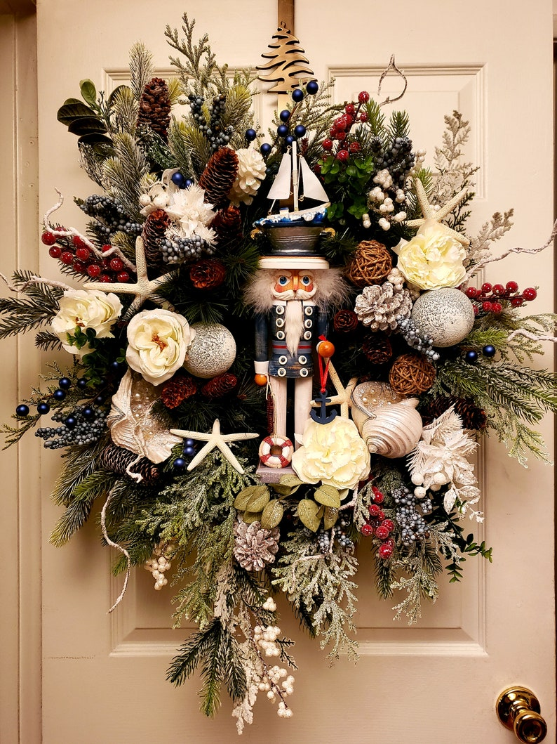 Nautical Christmas Wreath.Nautical Wreath Nutcracker Wreath Christmas Wreath Designers Wreath