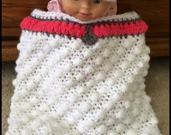 Crocheted Standard Poodle Newborn Baby Sack and Hat.