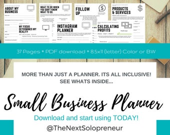 Solopreneur Business Planner, Business Planner, Home Business Planner, Business Goals, Social Media Plan, Business Organizer, Entrepreneur