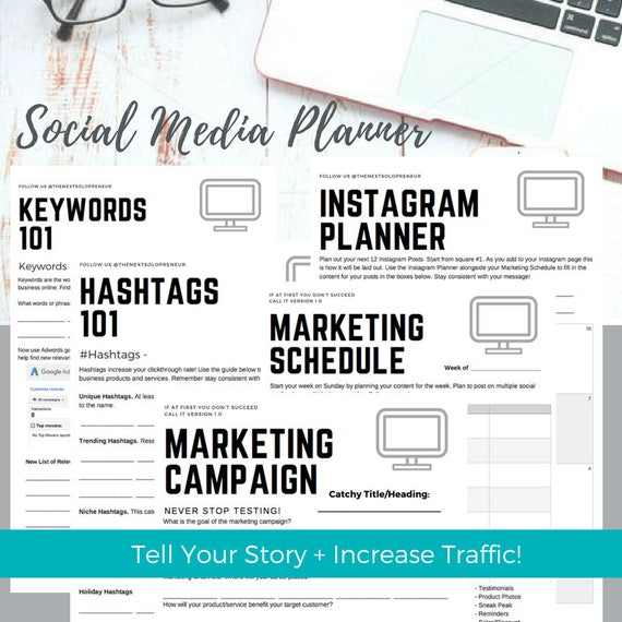 Social Media + Marketing Planner | Key Word + Hashtags Planner | Stay Organized + Consistent