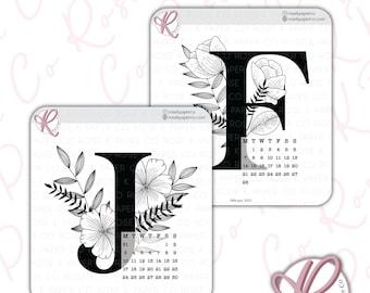 2022 Floral Calendar Stickers | Monday Start | Bullet Journal Stickers | Planner Stickers | Month Stickers | Calendar Stickers CAL22