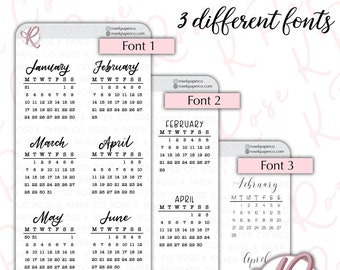 2022 Mini Calendar Stickers with headings - 3 different font styles, Monday or Sunday Start, Bullet Journal & Planner sticker sheet CAL22