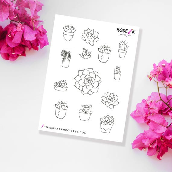 mini plantes grasses bullet journal stickers bujo stickers. Black Bedroom Furniture Sets. Home Design Ideas