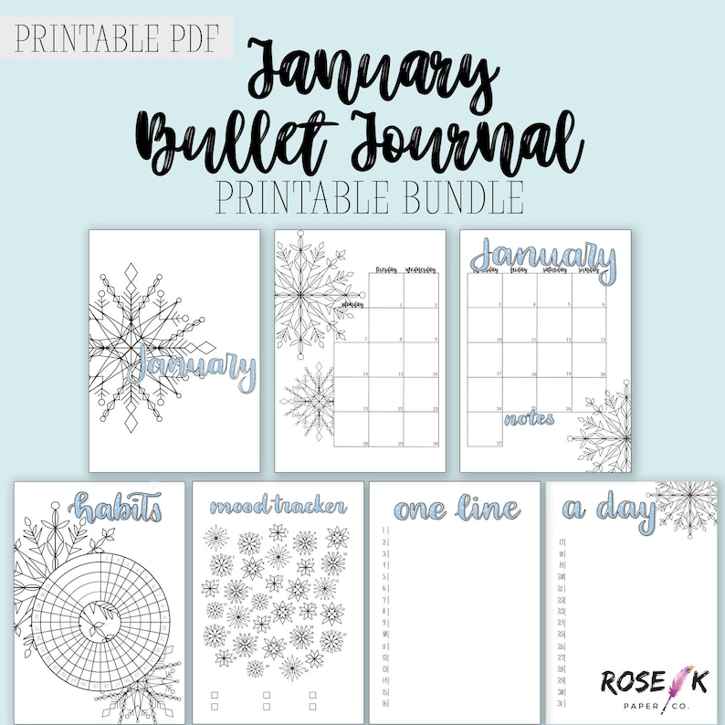 picture about Journal Cover Printable named January 2019 Bullet Magazine Printable Package Hand Drawn Include Webpage  Regular monthly Log Temper Tracker Graude Routine Tracker