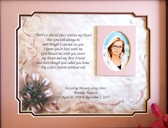 Sister Memorial Frame Personalized Loss of Sister Sister | Etsy