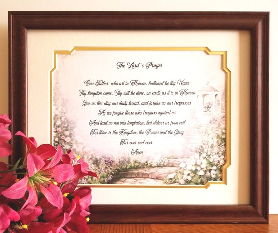 The Lords Prayer Frame Our Father Who Art in Heaven Bible Verse Poem  Christian Wall Art Decor Christian Prayer Inspirational Religious Gift