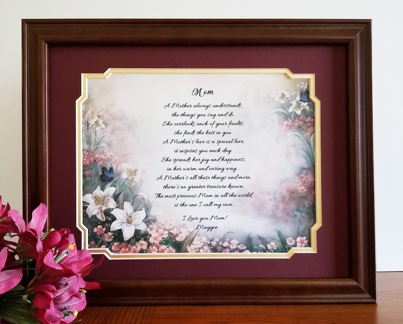 Mother Frame Gift Personalized Poem For Mom Birthday From