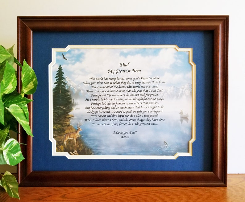Father Frame Personalized Poem Dad Birthday Gift From Daughter Son Fathers Day Ideas For Stepdad Fishing