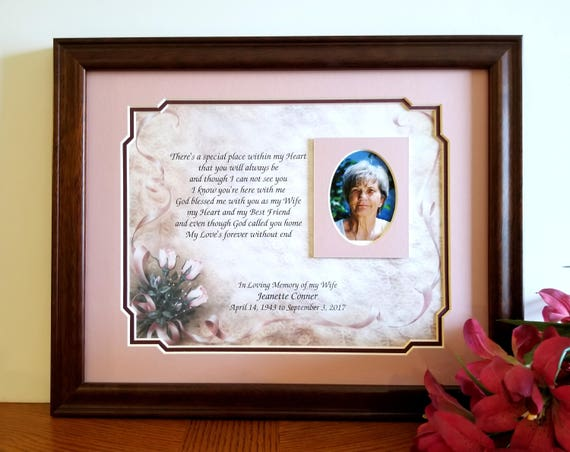 Wife Memorial Frame Personalized Loss of Wife Wife Memorial | Etsy