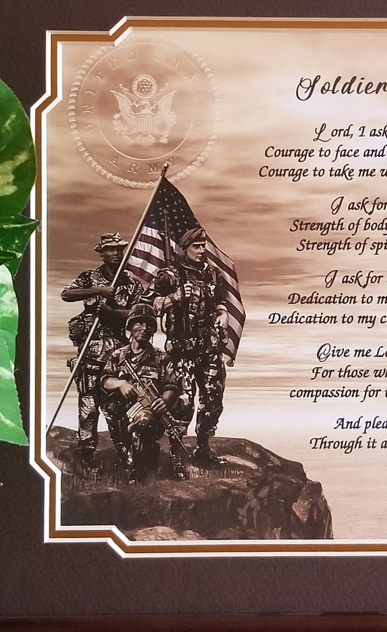 Army Frame Gift Personalized Soldiers Prayer US Army Gift Army Veteran  Retired Military Birthday Gift Dad Brother Son Daughter Mom Sister
