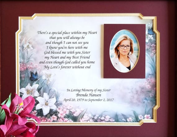 Sister Memorial Frame Personalized Loss of Sister Sister   Etsy