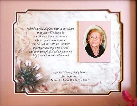 Mother Memorial Frame Personalized Loss of Mother Mom | Etsy