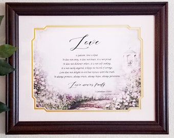 Love is Patient Love is Kind Frame Corinthians 13:4-8 Framed Bible Verse Christian Wall Art Decor Scripture Religious Gift Wedding Frame